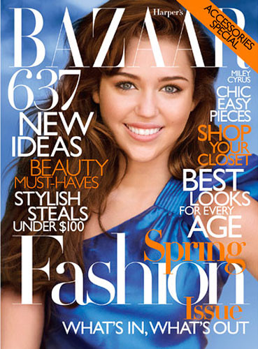 Miley Cyrus por primera vez portada de Harper's Bazaar