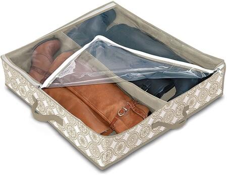 Domopak Living 910007 - Funda para botas (2 compartimentos, plástico, 50 x 60 x 12 cm), color blanco y beige