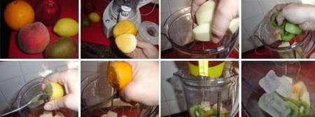 Batido de melocotón, manzana y kiwi