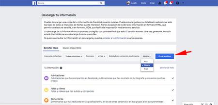 Pantalla Descarga De Informacion De Facebook