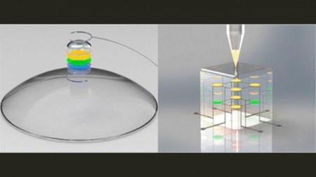 La impresión 3D de una pantalla LED que se integra en unas lentillas