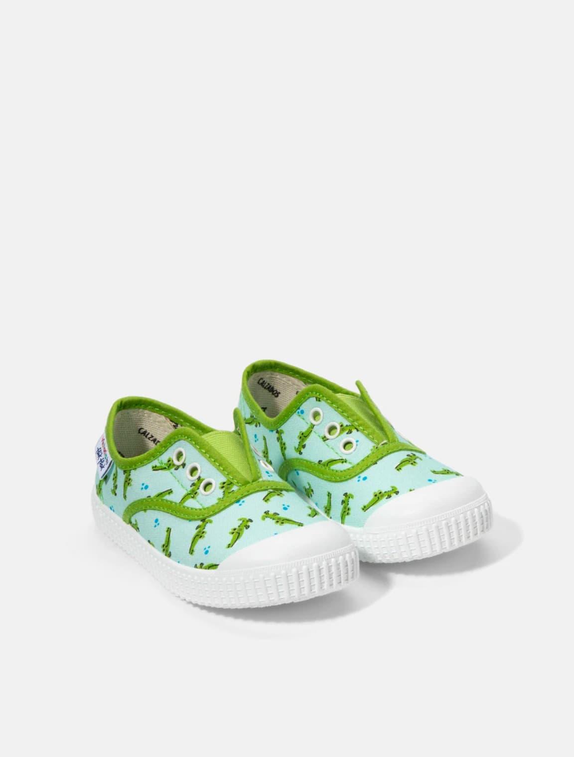 Zapatillas de lona de niño Victoria en azul con estampado cocodrilos