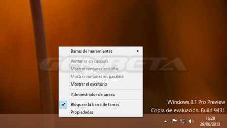 Menú de la barra de tareas de Windows 8.1