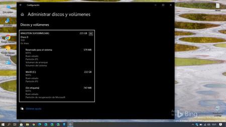 Windows 10 ya permite gestionar los discos duros y las particiones directamente desde el menú de Configuración