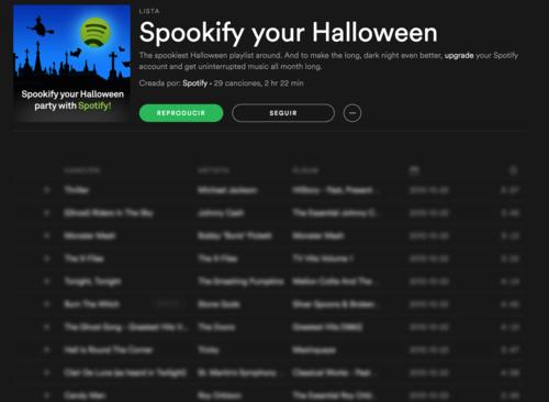 Spotify se prepara para Halloween con la creación de listas de lo más terroríficas