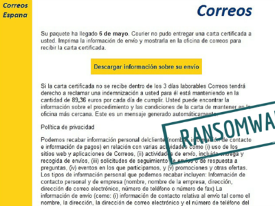 Detectada nueva campaña del ransomware CryptoLocker en España con mails falsos de Correos