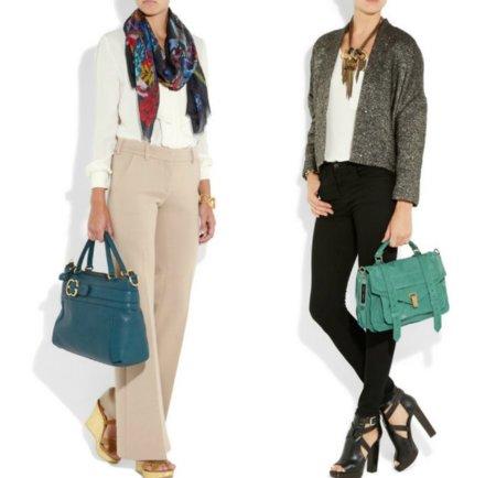 Los bolsos para este otoño 2011 se tiñen de azul y verde