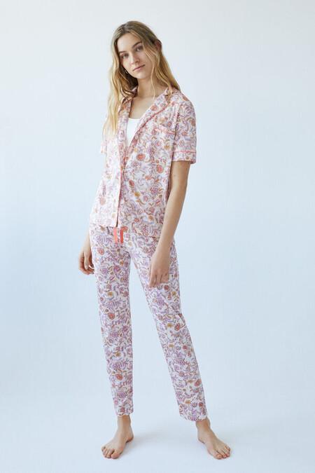 Pijama Largo Flores Algodon
