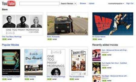 YouTube añade una tienda de alquiler de vídeos