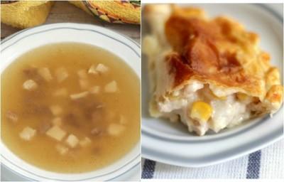 Sopa casera y empanadillas con maíz.  Dos maneras originales de aprovechar los restos de pollo asado