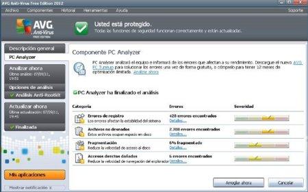 Problemas detectados por AVG 2012