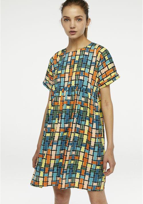 Vestido corto de print multicolo