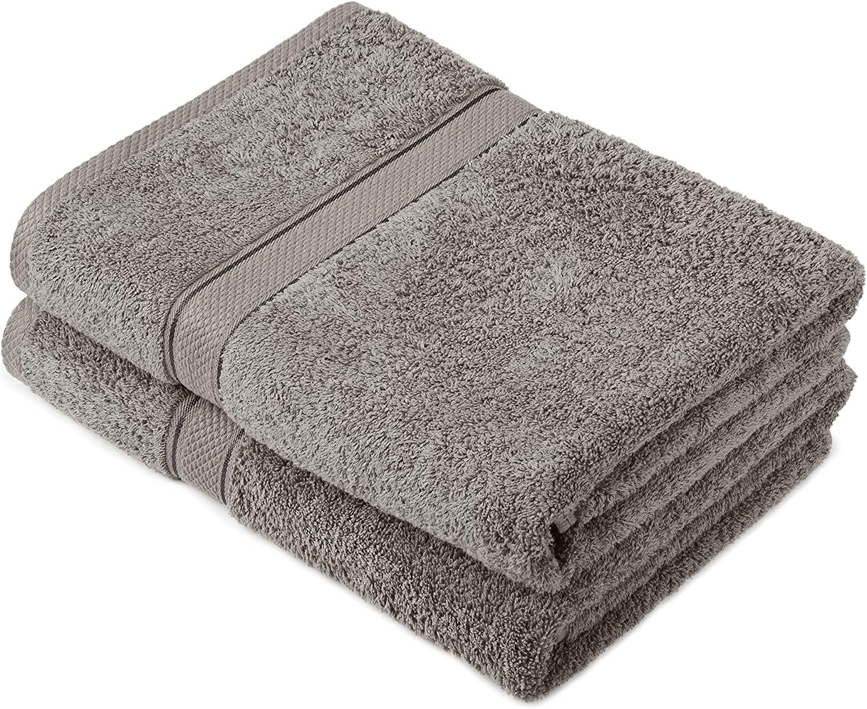 Pinzon by Amazon - Juego de toallas de algodón egipcio (2 toallas de baño), color gris