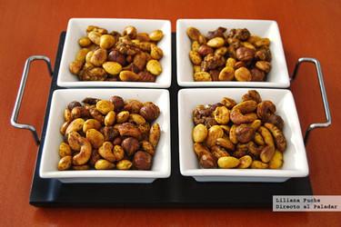 Aperitivo de frutos secos tostados al curry. Receta