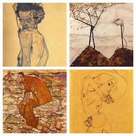 Collage formado por Autorretrato, árboles de Otoño los videntes, dibujo de mujer
