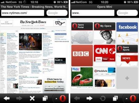 Opera Mini 6.0 para iOS renueva su diseño e incluye soporte para Retina Display y redes sociales