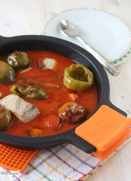 Bonito con tomate y pimientos de bola, receta para disfrutar de este soberbio pescado