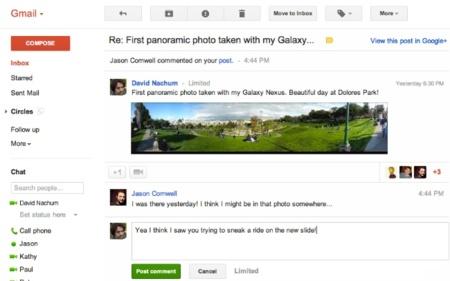 Ahora podemos responder a los mensajes de Google+ desde Gmail
