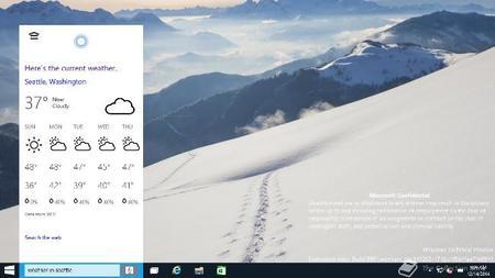 Windows 10 9901 Cortana Weather