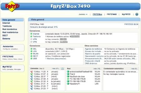 Panel de Administración FRITZ!OS 7490