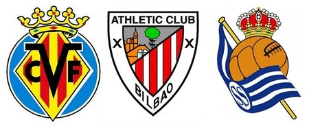 Escudos Villarreal, Athletic y Real Sociedad