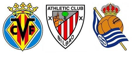 Escudos Villarreal, Athletic y Real Sociedad