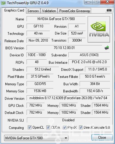NVidia GTX 580 GPUZ