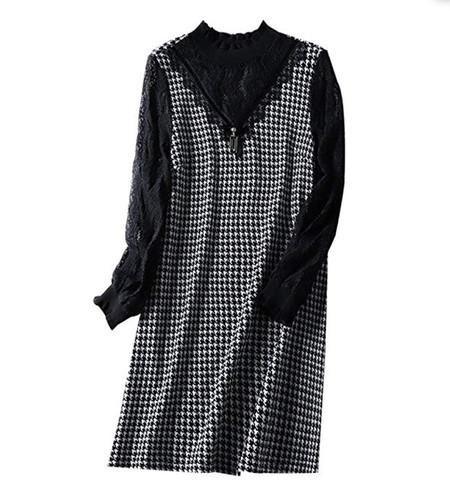 Bingqz Casual Vestido Vestido De Mosaico De Pata De Gallo De Cuello Alto Medio De 2019 Mujeres Nuevas En Falda Larga Para Mujer