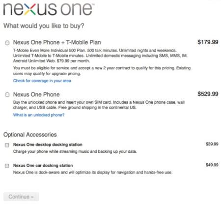 Nexus One libre a 530 dólares
