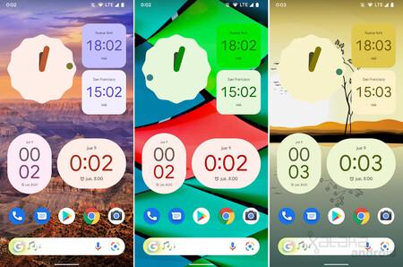 Widgets Reloj Google Material You