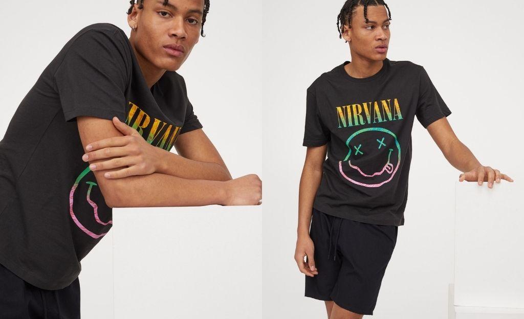 Camiseta con motivo de Nirvana