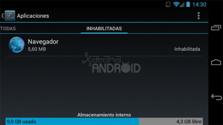 Aplicaciones inhabilitadas en Android 4.3 (Jelly Bean)
