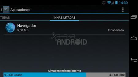 Aplicaciones inhabilitadas en Android 4.3 (Jelly Bean)