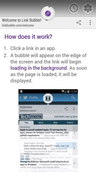 Link Bubble demo 1