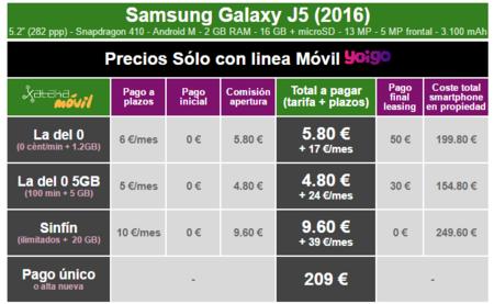 Precios Samsung Galaxy J5 2016 Con Tarifas Yoigo