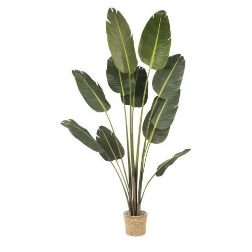 Planta artificial con maceta trenzada