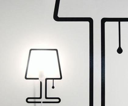 Lámpara 2D, lámpara pegatina