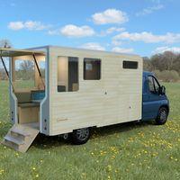 Esta versátil autocaravana modular tiene dos plantas, cocina completa y se convierte en una casa independiente