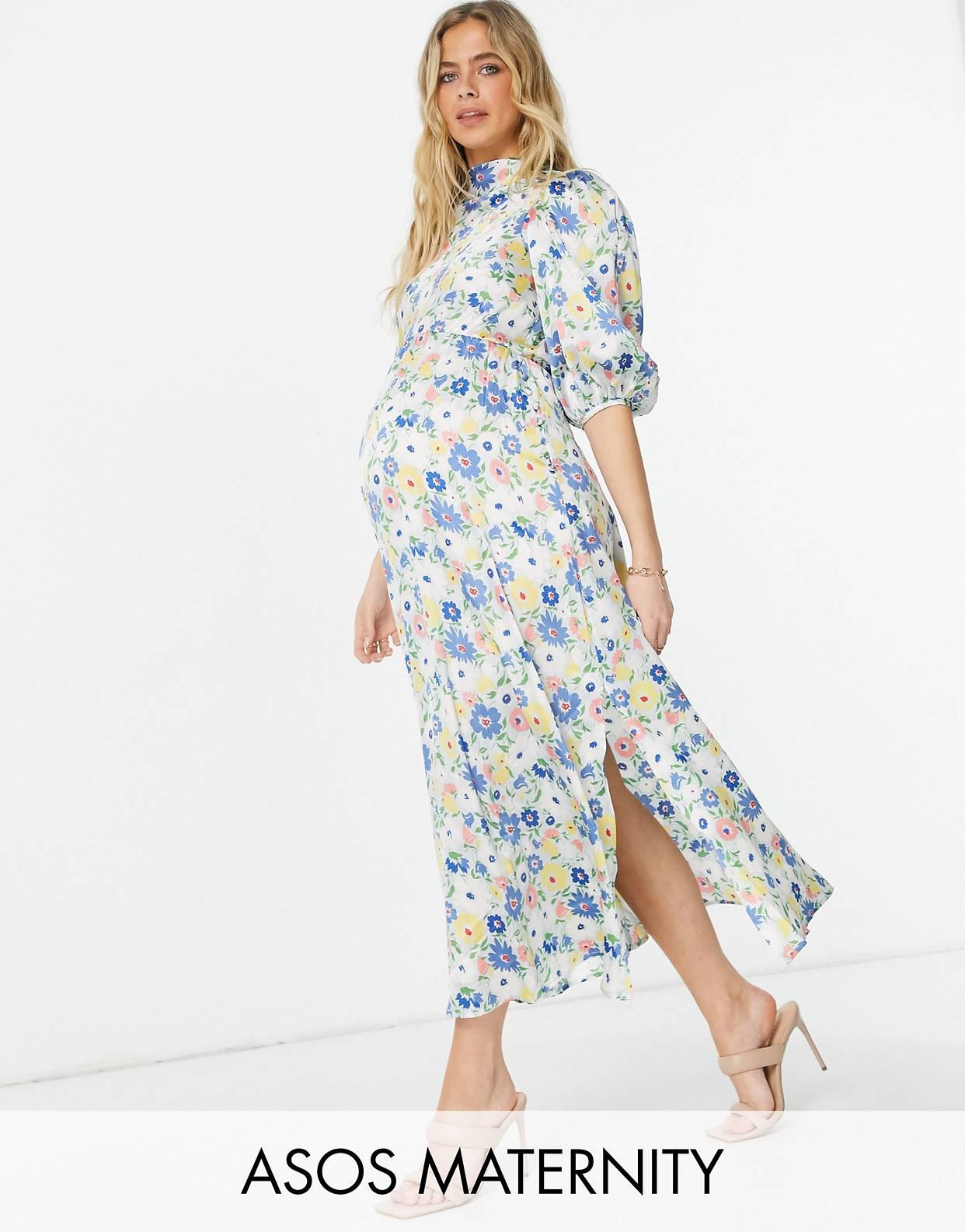 Vestido midi con estampado floral, cuello desbocado y mangas abullonadas de ASOS DESIGN Maternity