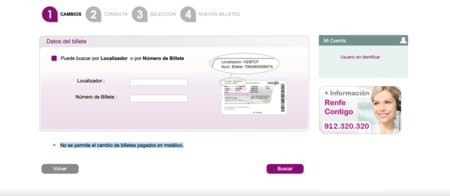 Cambios Billete Renfe