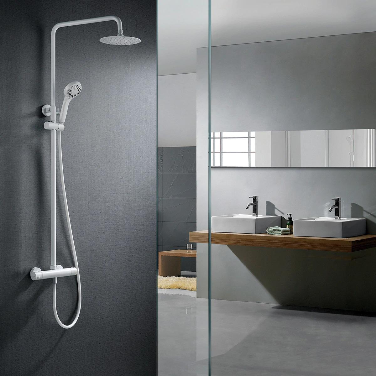 Conjunto de ducha termostática Londres en blanco mate Imex