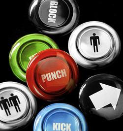 Chapas con forma de botones arcade
