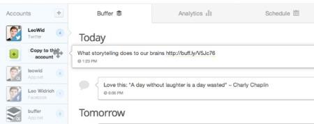 Arrastrar y colocar en Buffer para copiar en otra cuenta