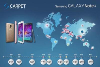 Samsung publica las fechas de lanzamiento Galaxy Note 4, el 17 de octubre en España