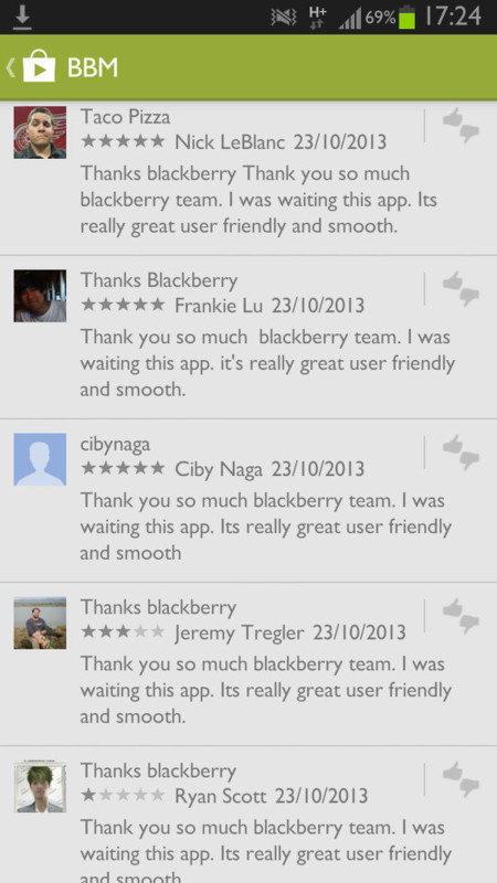 BBM Fake reviews