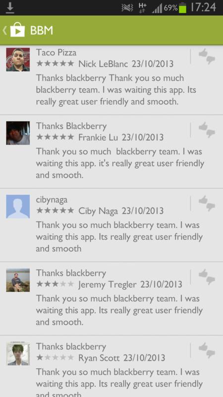 BBM Fake reviews