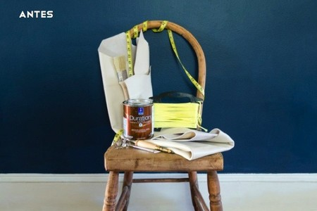 Antes y después: modernizando una antigua silla con un trozo de piel y cordón de color