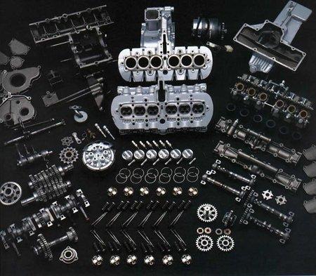 Honda RC 166, despiece del motor