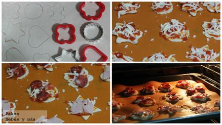 mini pizzas con formas divertidas
