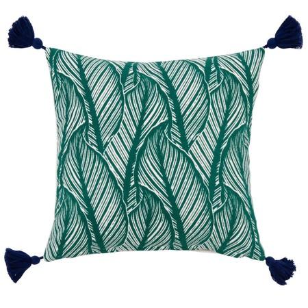 Funda De Cojin De Algodon Verde Con Estampado De Motivos Vegetales 40x40 1000 14 14 204932 1